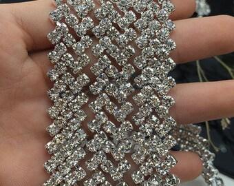 Rhinestone Trim by the yard, fancy cupchain, thin bridal trim, luxury rhinestone banding, rhinestone metal trim