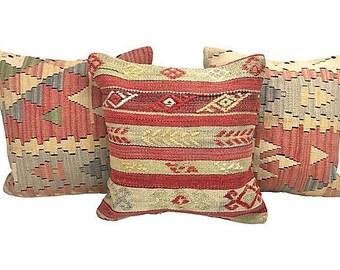 Turkish Kilim Throw Pillows, S/3 + down inserts