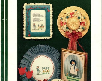 Friendship Flowers & Rainbow Kisses Cross Stitch and Beading Book by June Grigg-- Lasting Impressions -- Leaflet 205