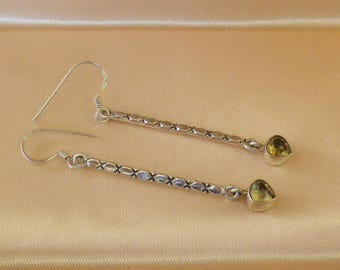 Vintage Sterling Silver Citrine Earrings Pierced Ears
