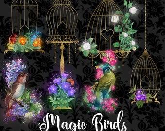 Magic Birds Clipart, fantasy sparkle bird cages clip art, floral gold glitter fairytale vintage illustrations, fantasy graphics