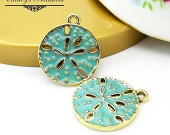 5 Sanddollar Pendant Charms, 23x20mm, Sea life charms, Gold with Blue green patina finish, Beach charms, Bangle charms,CTSD56