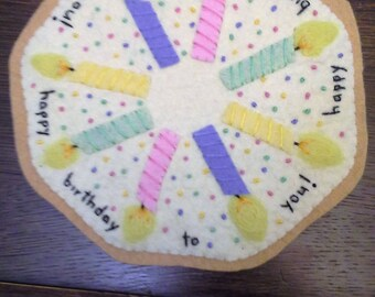 candle mat, birthday, candles, wool