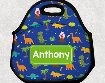 Dinosaur Lunch Tote - Personalized Lunch Bag for Kids - Washable Soft Neoprene - Dino Lunchbox Daycare Preschool Bottle Carrier