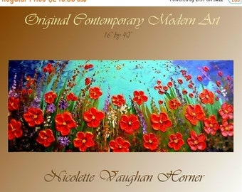 SALE Original Impasto style painting on Deep gallery wrap canvas  Poppies by Nicolette Vaughan Horner