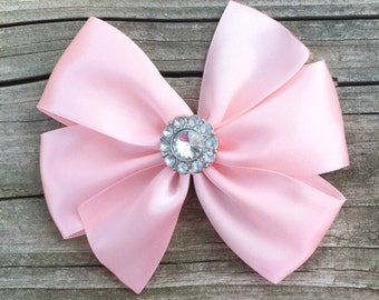 Light Pink Satin Hair Bow, Satin Hair Bows, Pink Flower Girl Bow, Toddler Hair Bow, Light Pink Satin Bow with Clear Rhinestone Center