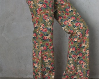 vintage High Waisted Pants floral pants Olive green and flower red,hipster pants  women boho vintage pants spring Bohemian by Katharine Jett