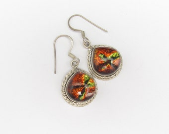 Vintage Dichroic Glass Earrings, Sterling Silver earrings, Multi Color Art Glass, Artisan Glass, Large Colorful, 925 Sterling Silver