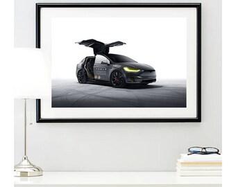 Tesla Model X P90D Front Angle, automotive photography, automotive prints, car photography, car prints, american car, @richardlephoto