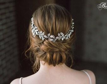 Grecian Headpiece, Leaf Branch Hair Piece, Bridal Back Headpiece, Bohemian Headpiece, Bridal Headpiece, Wedding Hair Vine, Headband- AURELIA