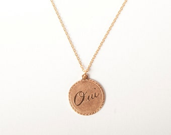 Rose Gold Plated Necklace Disc Oui Yes Yeah! Rosegold Ring Circle Coin Golden Oui Necklace