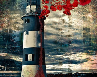 A2 Smeaton's Tower Poppies, Plymouth Light House, Digital Art Image A2
