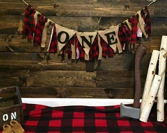 Little Lumberjack Burlap & Fabric Birthday Party Banner - Lumberjack Garland Bunting - Lumberjack Highchair Banner - Flannel Burlap Banner