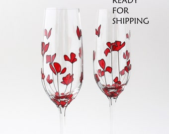 Champagne flutes red poppies Toasting glasses Wedding gift glasses Bridesmaids glasses Hand painted gift Red flower Mothers Day gift idea