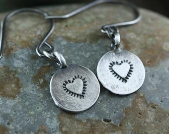 Silver Heart Earrings, Sterling Silver, Rustic Heart Earrings, Southwestern