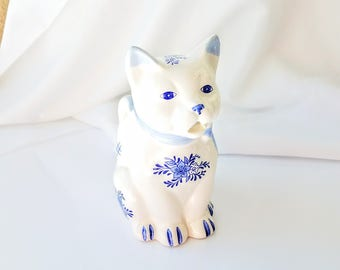 Vintage Blue White Cat Creamer, Cat Tea Party, Kitty Milk Pitcher Vintage Hand painted Whimsical Cat with Blue Bow
