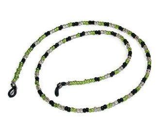 Glasses Cord Chain, Eye Wear Spectacles, Glass Bead Lime Green, Black & Clear, 68 cm long, new