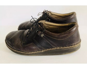 Men's Finn Comfort brown leather lace up walking shoes, size 42