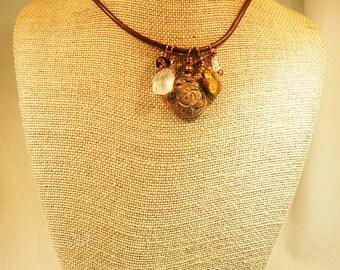 Bohemian Style Bronze Clay Antique Button Necklace