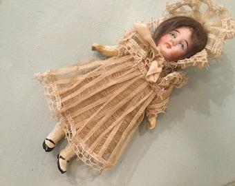 "Antique 5"" Mignonette Composition German Girl Doll for Doll Under Clothes Lace Dress"