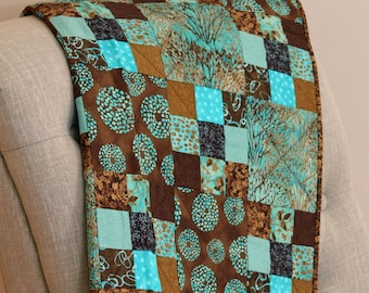 Brown and Teal, Wall Hanging Quilt