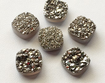 Dark Silver Druzy,Titanium Dark Silver Druzy, Matched Pairs, Cushion Druzy, Druzy Jewelry, Silver Druzy Cabochon, Druzy Bead, 4 Pcs, 12x12mm