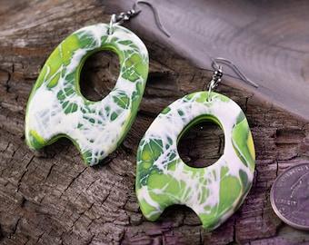 Green | White Large Earrings