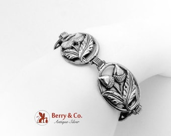 SaLe! sALe! Wide Retro Acorn And Oak Leaf Bracelet Sterling Silver 1950