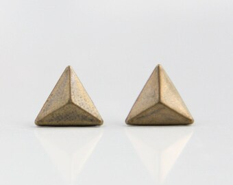 Triangle Pyrmaid Geometric Antique Brass Metal Stud Earrings 9mm. Surgical Steel Earrings Post. Gift for Her. Gift for Him