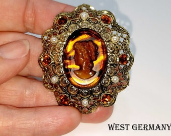 Vintage Tortoise Shell Glass Cameo Gold Tone Filigree Brooch made in West Germany with Sparkling Rhinestones and Faux Pearls