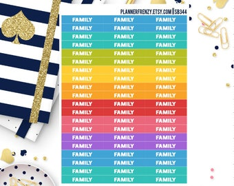"""60 """"Family"""" Section Header Planner Stickers! SB344"""
