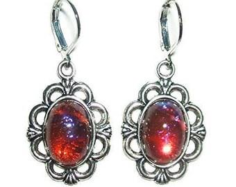 DRAGONS BREATH EARRINGS Mexican Fire Opal Czech Glass Silver Pltd Leverback Dangle Drops