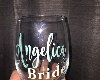 Personalized bridal party wine glasses