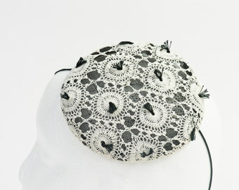 fascinator, hat, white, crochet, Wedding, Bride, Bridal, Bridesmaid, Vintage, Ascot, Races, Goodwood