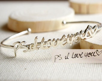 Handwriting Jewelry • Adjustable Signature Bangle • Handwriting Bracelet in Sterling Silver • MOTHER'S GIFT • BH02