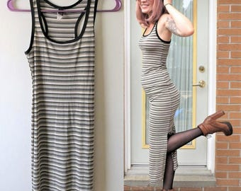 90s Way Cool Tank Dress, Stretchy Maxi Dress, Black and Ivory Striped Basic Women's US Size 4 Small