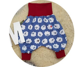 Baby, Mitwachsen pants, harem trousers, harem pants, pants, baby pants, clouds, plane, plane, Star, blue, Red