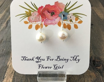 Thank You For Being My Flowergirl Jewelry Packaging, Bridal Party Gift Packaging - Earrings Not Included
