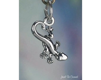 Miniature Sterling Silver Gecko Salamander or Newt Charm Solid .925
