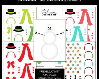 Digital Printable Activity-Build a Snowman-DIY Snowman-Snow Clipart-Christmas-Holiday Cards-DIY-Scrapbooking-Instant Download Clip Art