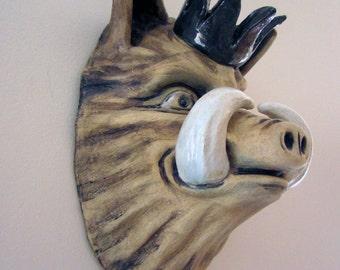 "King Pig, Hog Head Wall Piece. Ceramic Sculpture. Pop Surrealism. Kathleen McGiveron. 12""h x 8""w x 6""d"