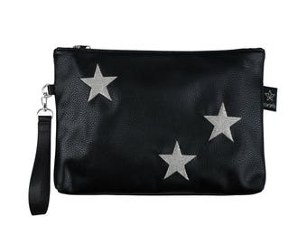 Star diaper clutch,Black&silver cosmetic pouch, Teen girls gifts idea, Metalic silver pouch