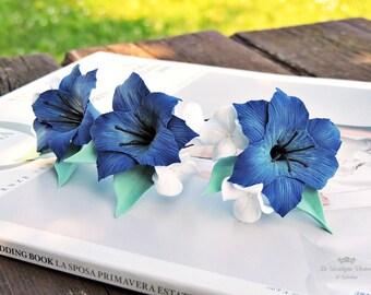 Forcine per sposa, Forcine per capelli, Forcine con fiori, Forcine blu, Forcine con fiori blu, Accessori per capelli, Accessori per sposa