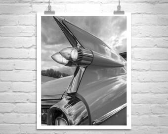 Mid Century Cars, Cadillac Automotive Art, Car Photography, Tail Fins, Vintage Cadillac, Old Cadillac, Boyfriend Gift, Ready to Hang Art