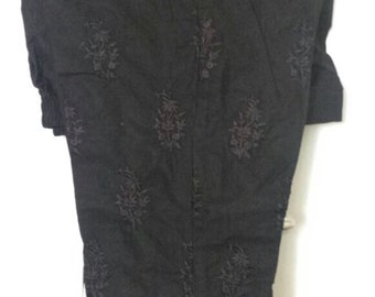 New Black Embroidered Cigarette pants