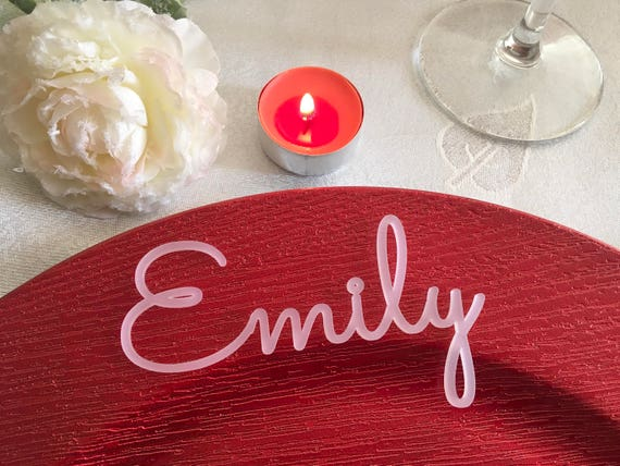 Frosted White Place cards Laser Cut Acrylic table names Winter wedding Name place settings Guest seating White decorations Personalized name