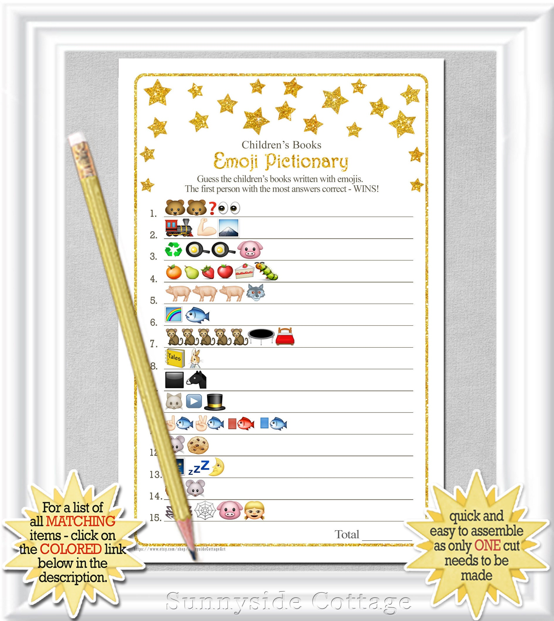 Childrens Books EMOJI Pictionary Game With Whimsical Gold