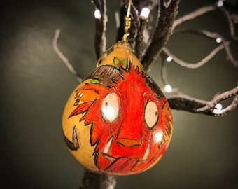 CLEARANCE - Krampus Gourd Ornament - colored pencil - Red