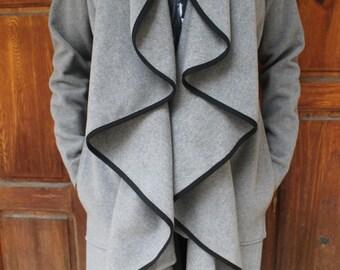 Grey Woollen Long Coat | Gray Belted Coat | Wool Coat | Wavy Front Coat | Frilly Long Coat | Warm, Elegant and Fashionable by Silvia Monetti