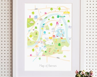 Map of Barnes, South West London Print